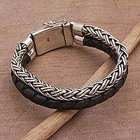 Men's sterling silver and leather bracelet, 'Double Virtue' - Men's Sterling Silver and Leather Wristband Bracelet