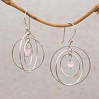 Rose quartz dangle earrings, 'Atoms' - Rose Quartz and Sterling Silver Cuff Bracelet from Bali