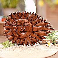 Wood relief panel, 'Lunar Solar' - Artisan Hand-Carved Sun and Moon Wall Relief Panel from Bali