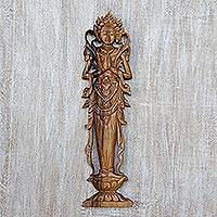 Wood relief panel, 'Lakshmi' - Handcrafted Hindu Suar Wood Relief Panel from Bali