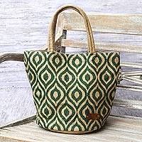 Agel grass tote bag, 'Peacock Paradise in Green' - Agel Grass Tote Bag in Natural and Green Pattern