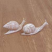 Wood statuettes, 'Beautiful Difference' (pair) - Charming Snail Statuettes with Whitewashed Finish (Pair)