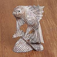 Wood statuette, 'Jumping Carp' - Handmade Whitewashed Jempinis Wood Statuette Jumping Carp