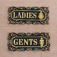 Wood wall signs, 'Ladies and Gents' (pair) - Ladies and Gents Restroom Signs in Hand Carved Wood