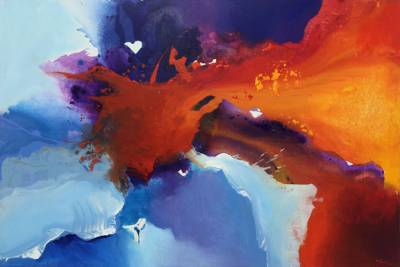 Bold 60-Inch Abstract Painting in Bright Jewel Colors