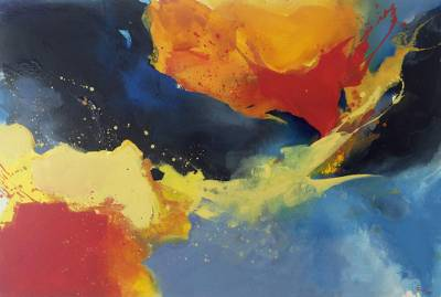 Abstract Nature Painting in Primary Colors from Java (59 In)