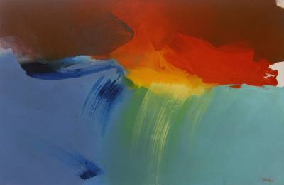'Twilight' - Original Abstract Sunset Painting in Primary Tones from Java
