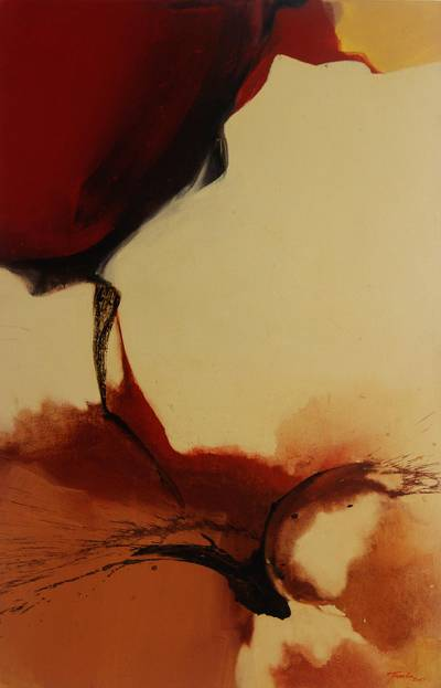 'Love is Blind' - Love Theme Javanese Abstract Painting in Red and Browns
