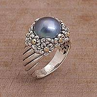 Cultured pearl cocktail ring, 'Dusky Daisy' - Blue Cultured Pearl Cocktail Ring with Floral Motifs
