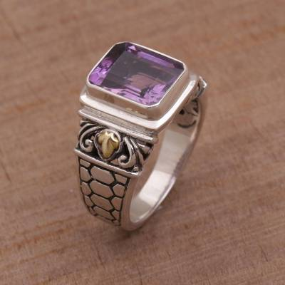 original silver rings online jobs - Amethyst Gold Accent and Sterling Silver Single Stone Ring