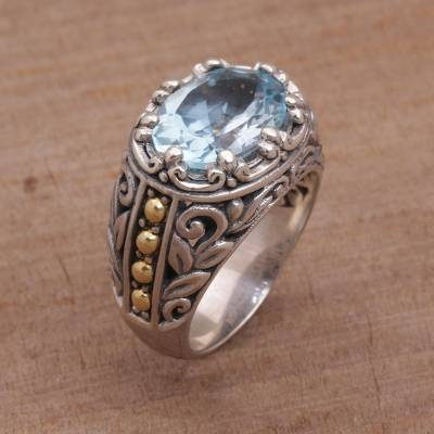 Handmade Sterling Silver and Blue Topaz Single Stone RIng