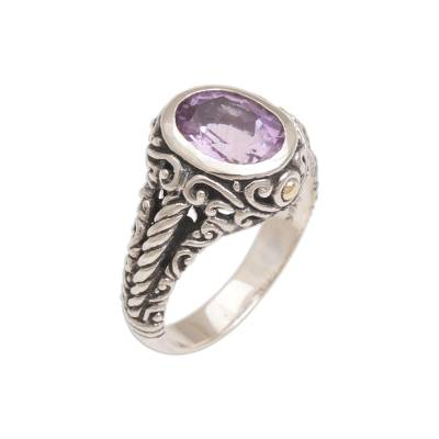 Amethyst and gold accent single stone ring, 'Princess of Vines' - Amethyst Gold Accent and Sterling Silver Single Stone Ring