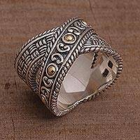 Sterling silver and gold accent band ring, 'Shining Wonder' - Sterling Silver and Gold Accent Band Ring from Indonesia