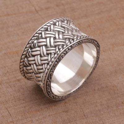 Sterling silver band ring, 'Silver Strands' - Handmade Sterling Silver Band Ring from Indonesia