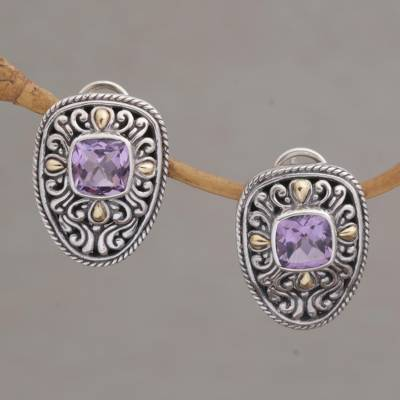 Gold accented amethyst drop earrings, 'Luxurious Swirls' - Sterling Silver and Amethyst Drop Earrings with Gold Accents