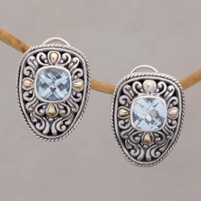 Blue topaz and gold accent drop earrings, 'Luxurious Swirls' - Blue Topaz Gold Accent and Sterling Silver Drop Earrings