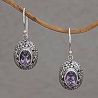 Amethyst dangle earrings, 'Butterfly Haven' - Amethyst and Sterling Silver Floral Earrings from Bali