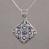 Gold accent amethyst pendant necklace, 'Ketupat Blessing' (Indonesia)