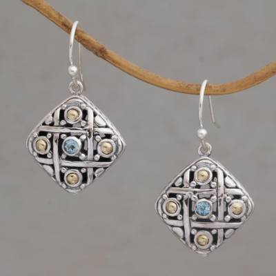 Gold accented blue topaz dangle earrings, 'Ketupat Blessing' - Gold Accent Blue Topaz Dangle Earrings from Bali