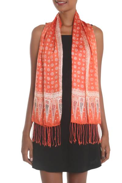 Batik silk scarf, 'Truntum Majesty' - Batik Silk Shawl with Truntum Motifs in Tangerine from Bali