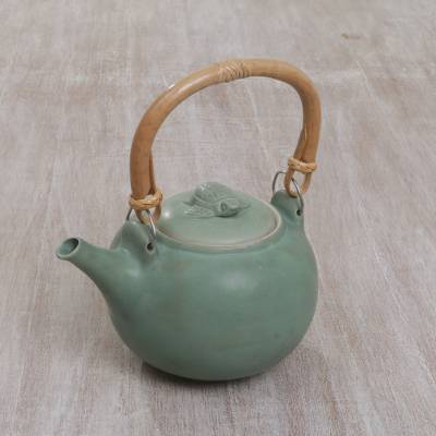 Ceramic teapot, 'Little Tortoise' - Handcrafted Green Tortoise Ceramic Teapot from Bali