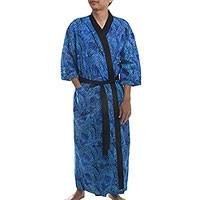 Men's cotton robe, 'Monsoon in Light Blue' - Handmade Men's Blue Cotton Robe from Bali