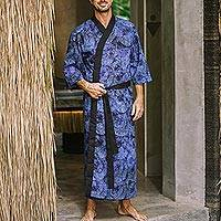 Men's cotton robe, 'Monsoon in Dark Blue' - Handmade Men's Blue Cotton Batik Robe from Bali