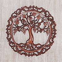 Wood wall relief panel, 'Grape Vine Circle' - Artisan Hand-Carved Grape Vine Wall Relief Panel from Bali