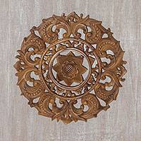 Wood wall relief panel, 'Starlight Flower' - Artisan Hand-Carved Floral Suar Wood Relief Panel from Bali