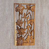 Wood relief panel, 'Lily Window' - Lily and Lotus Hand-Carved Suar Wood Wall Panel from Bali