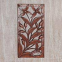 Wood relief panel, 'Iris Window' - Artisan Hand-Carved Suar Wood Iris Relief Panel from Bali