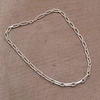 Sterling silver chain necklace, 'Strong Links' - Sterling Silver Cable Chain Necklace from Bali