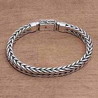Men's sterling silver chain bracelet, 'Shining Naga' - Men's Sterling Silver Naga Chain Bracelet from Bali