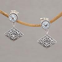 Blue topaz dangle earrings,