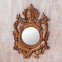 Wood wall mirror, 'Shiva's Reflection' - Light Brown Suar Wood Shiva Mirror from Indonesia