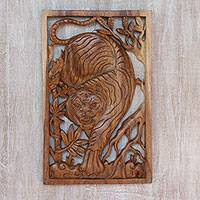 Wood relief panel, 'Hear Me Roar' - Handcrafted Tiger-Themed Suar Wood Relief Panel from Bali
