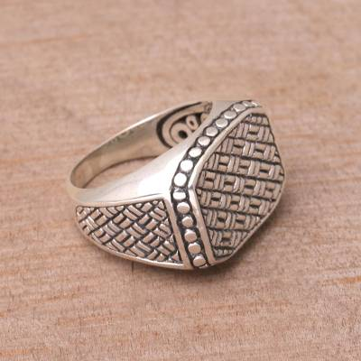 hypoallergenic earrings near me - Weave Motif Sterling Silver Signet Ring from Bali