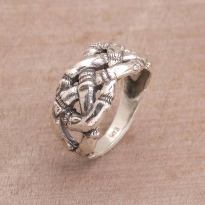 Openwork Bamboo Sterling Silver Cocktail Ring from Bali