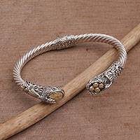 Gold accent sterling silver cuff bracelet, 'Fight for Survival' - Gold Accent Animal-Themed Cuff Bracelet from Bali