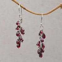 Garnet dangle earrings,