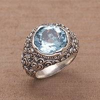 Blue topaz cocktail ring, 'Barong Lake' - Handmade Blue Topaz and 950 Silver Cocktail Ring from Bali