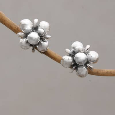 Sterling silver stud earrings, 'Jasmine Shine' - Sterling Silver Jasmine Flowers Stud Earrings from Bali