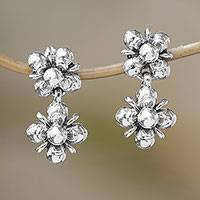 Sterling silver dangle earrings, 'Jasmine Shine' - Sterling Silver Jasmine Flowers Dangle Earrings from Bali