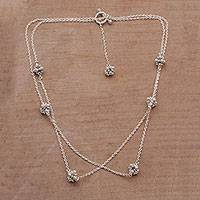 Sterling silver station necklace,