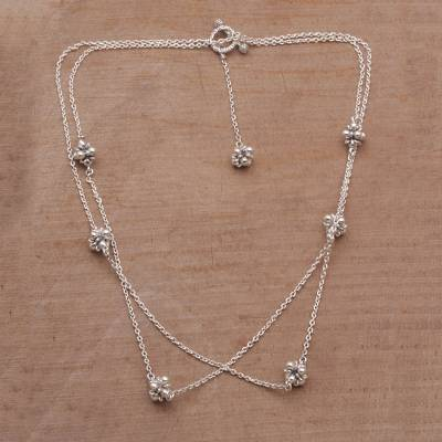 Sterling silver station necklace, 'Jasmine Shine' - Sterling Silver Jasmine Flowers Station Necklace from Bali