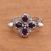 Amethyst cocktail ring, 'Bougainvillea Spin' - Sterling Silver and Amethyst Floral Cocktail Ring from Bali