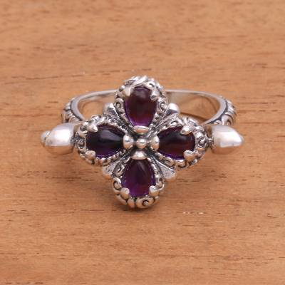 silver jewellery sale - Sterling Silver and Amethyst Floral Cocktail Ring from Bali