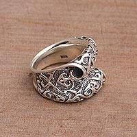 Sterling silver cocktail ring, 'Curling Scroll' - Artisan Crafted Sterling Silver Scroll Ring from Bali