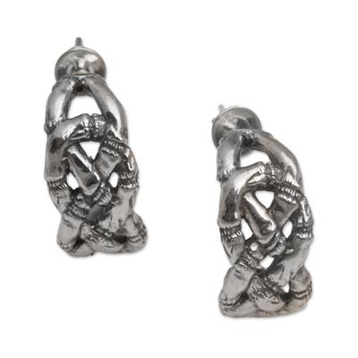 Bamboo-Themed Sterling Silver Half-Hoop Earrings from Bali