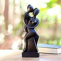 Wood statuette, 'Our Love' - Artisan Hand-Carved Suar Wood Lovers Statuette from Bali